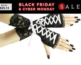 White and black fingerless mittens, lace arm warmers in gothic, burlesque, vintage style, women evening gloves, gothic wedding 03C