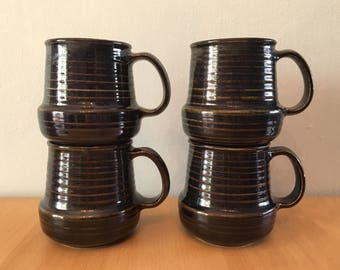 Stunning set of 4 studio made 1980s brown / olive ceramic coffee mugs chunky bottoms ribbed tops for Boho or tropical Old Florida home!