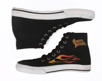 90s Vintage Harley Davidson Black & Orange Flame High Top Sneakers