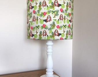 Basset hound dog print fabric lamp