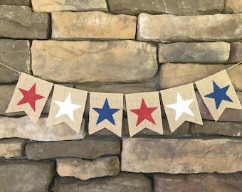 4th of July banner, Memorial Day banner, stars burlap banner, patriotic decor, July 4th banner, flag burlap banner, Americana banner