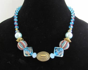 Blue, Gold and Red Necklace and Earrings