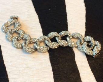 Vintage Cadoro NYC Rhinestone Chain Link Bracelet