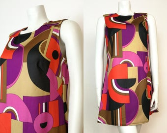 True Vintage Trevira 60s Purple Red Taupe Abstract Geometric Mod Scooter Mini Dress Size 12 - 14