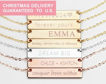 Custom Name Necklace Personalized Bar Necklace Personalized gift for women Best Friend Necklace Christmas gifts Friend Jewelry - 4N
