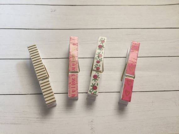Pink & White Decorative Wood Clips. Set of 4. Love Clips. Patterned Clips