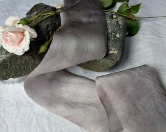 FOSSIL hand dyed silk habotai ribbon / plant dyed / eco dyed / wedding ribbon / styling ribbon / photo prop / pure silk ribbon