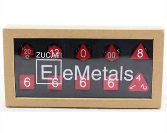 Zucati Dice EleMetal™ Aluminum Polyhedral Set of 10 -  Flame Red