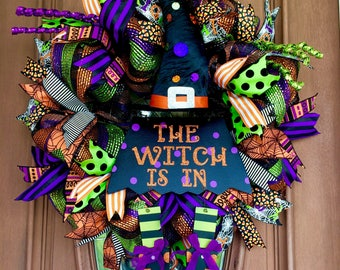 Sale Witch Wreath, Halloween Wreath, The Witch Is In Wreath Halloween Witch Wreath, Front Door Wreath Halloween Door Hanger Witch Door Decor