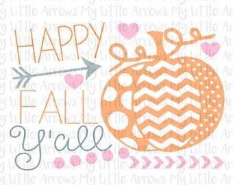 SALE- Happy fall yall SVG, DXF, Eps, png Files for Cutting Machines Cameo or Cricut - womens halloween shirt - diy halloween - cute hallowee