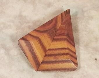 """Handmade wooden brooch ,wooden pin ,vintage brooch ,diamond style brooch, 2.3"""" x 1.9"""""""