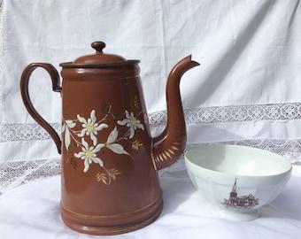 An early 20thC Enamel Coffee Pot