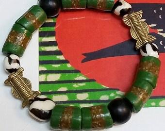 African Green Multi Bead Bracelet