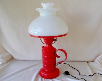 Vintage Hurricane Lamp, Hobnail Poppy Red, Unique Refinished