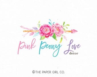arrow logo design boho chic logo premade photography logo wedding planner logo event planner logo jewelry designer logo watercolor logo