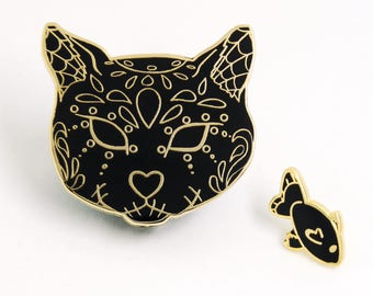 Cat Enamel Pin, Sugar Skull Cat, Dia de Los Muertos, Holiday Gift, Day Of the Dead, Halloween Lapel Pin, Enamel Pin Set, Cat Lover Gift