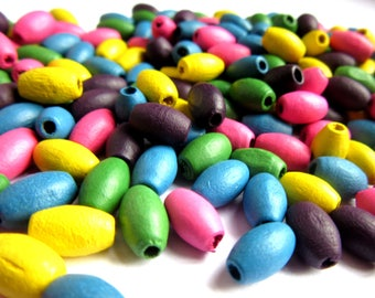 200 + Wooden Oval Beads, Multicolored Beads, 8 x 4 mm Wood Beads, Blue Wooden Beads, Pink Wooden Beads, Green Wood  Beads, Yellow Beads