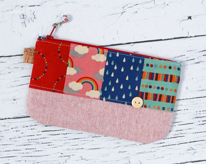 Featured listing image: Patchwork Pencil Pouch - Pink Rainbow