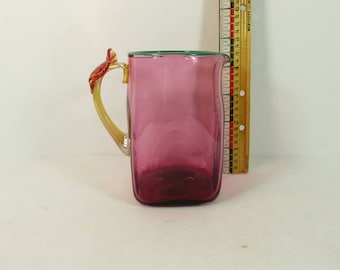 Michael Sosin Hand Blown Cranberry Art Glass Pitcher Leaf Handle 4 1/2 inch 14 oz