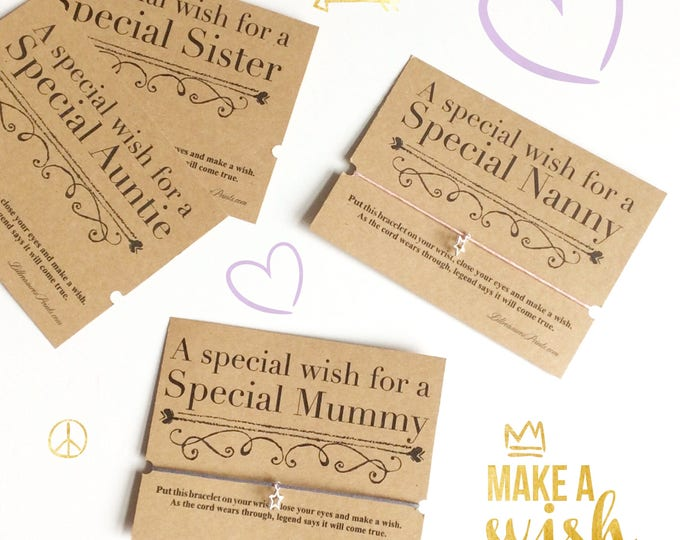 A special wish for a special auntie, nanny, sister wish bracelet   Made for anyone   Friendship Bracelet   Wish band   Charm bracelet.