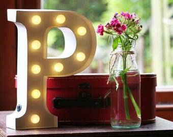 Vintage Carnival Style Marquee Light, Light up Letter P - Battery Operated