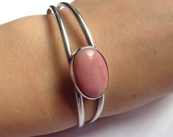 Beautiful Peruvian Pink Opal Bracelet . Sterling Silver . Cuff Bracelet . 6 centimeters