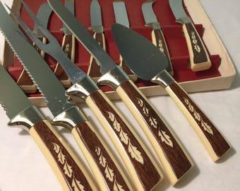 Vintage Regent Sheffield stainless England 11 piece knife, meat fork, spreader set - Mid century Cutlery set - Meat fork, knife, spreaders