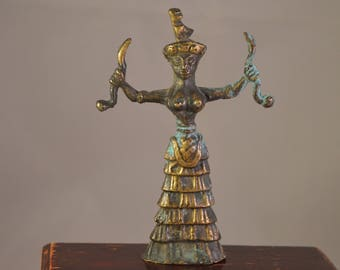 Vintage Goddess of snakes,miniature,statue,brass