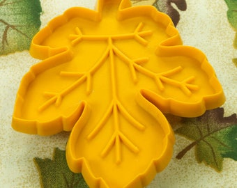 1970's Vintage Golden Yellow Plastic Hallmark Maple Leaf Cookie Cutter
