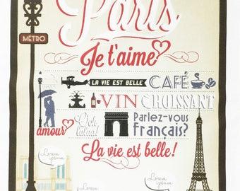 Paris, Je t'aime - Vintage Style Large Cotton Tea Towel