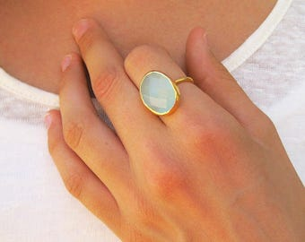 Aqua Chalcedony Oval Gemstone Ring- Stacking Ring - Statement Ring - Gold Ring