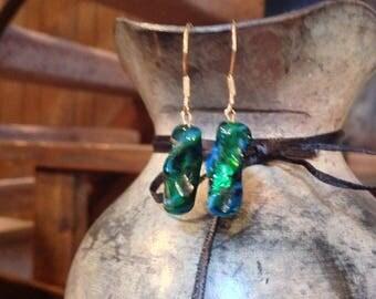 Green blue earthy dangle earrings