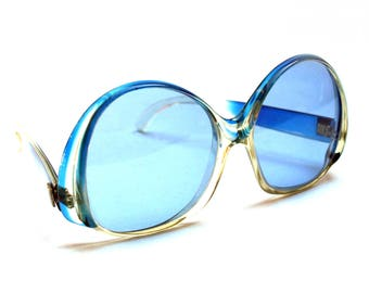Vintage AZZARO oversized sunglasses, 1970s, Blue frame and lenses, Model S1 01