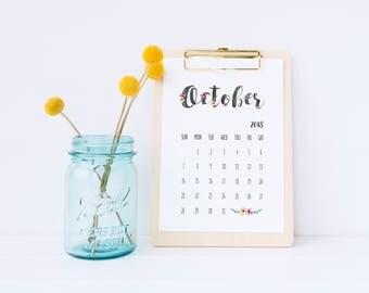 printable calendar 2018, 2018 floral calendar, printable calendar, calendar download,  2018 calendar, watercolour calendar, monthly calendar