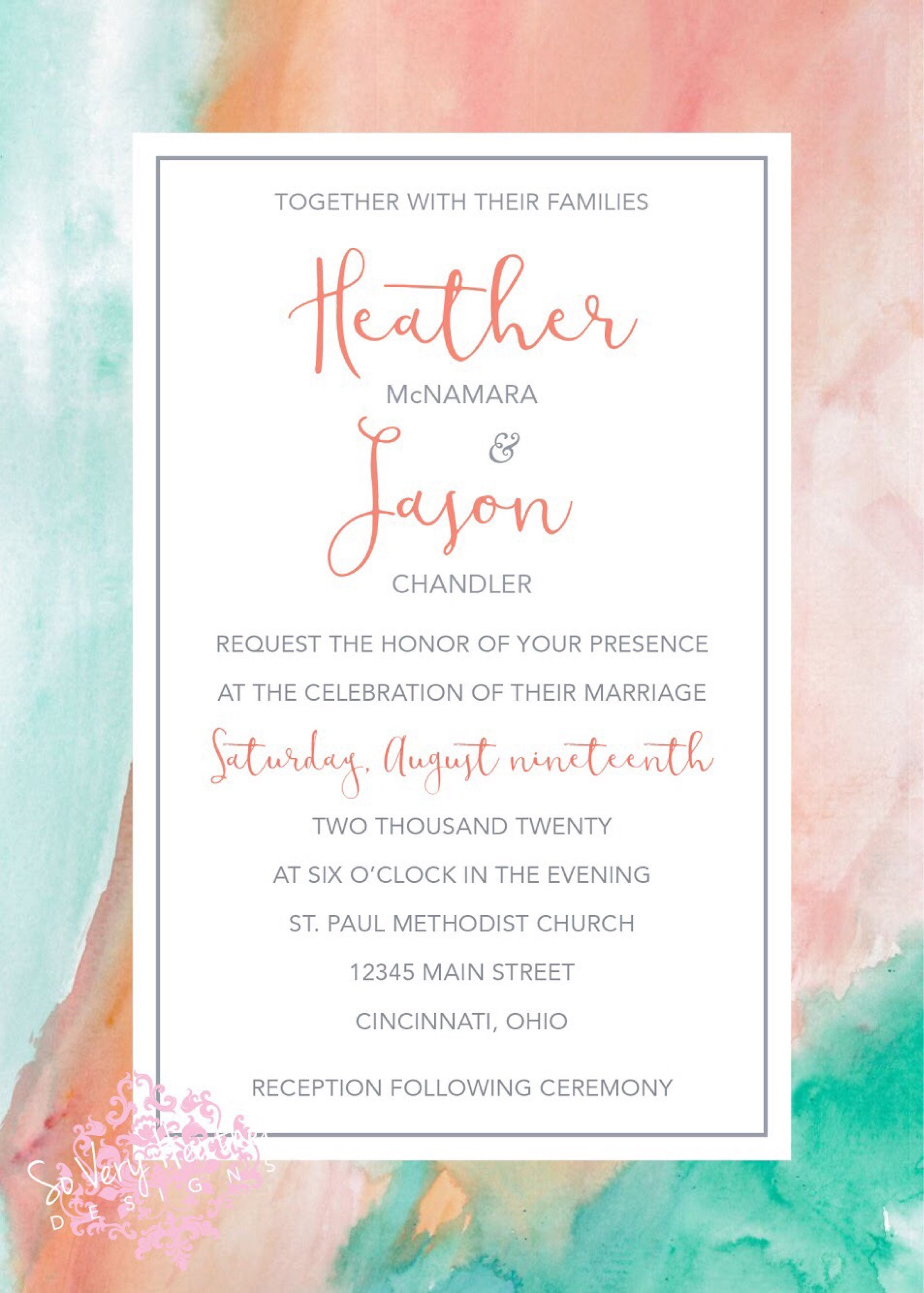 teal and coral marble wedding invitation 25th wedding anniversary