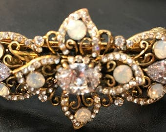New Antique Gold With Ivory Opals &  CZ Crystal 3'' Hair Barrette