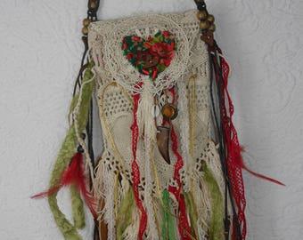 "Boho purse, antique macrame, ""Tribal Talisman"", gipsy, unique, art to wear, Tribal decoration"