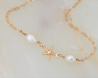 Starfish Pearl Bracelet • Star Fish Jewelry • Tropical • Wedding Bridesmaid • Gift for Her
