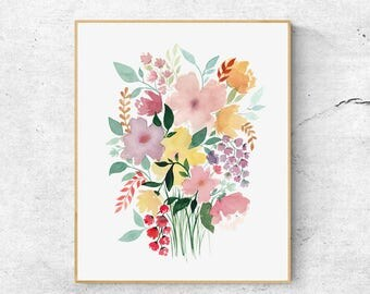 Spring Flowers Print, Watercolor Flower Bouquet, Wall Art Decor, Watercolor Flowers, Botanical Art, Watercolor Prints, Floral  Art Decor