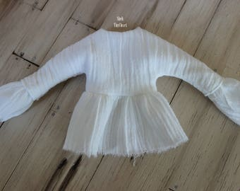 White Blouse For Blythe - Handmade, Long sleeved Blythe top, lightweight, crinkle top, extra long sleeves.