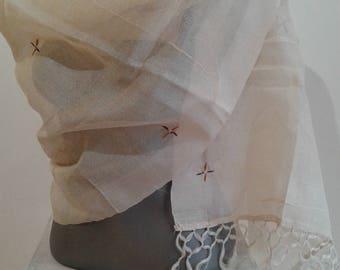 White Silk Stole Hand Embroidered Off White Silk Scarf Handwoven