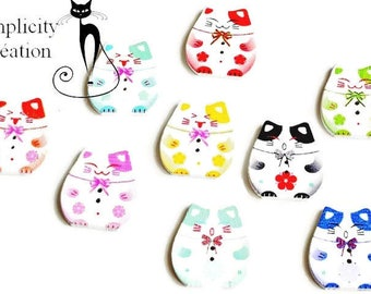 set of 9 multicolored buttons wood Kawaii theme