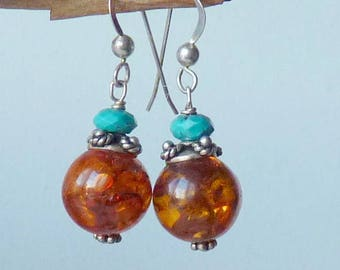 Gold Amber Sterling Silver  Turquoise Earrings, Vintage Dangle Amber Earrings, 925 Amber, Retro Amber Turquoise Earrings, Amber Jewelry 70's