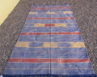 "Moroccan Sabra Cactus Silk  Kilim Rug, ""Tara"", Purple Rug, Moroccan Rug, Boho Rug, Bohemian, Home Decor, Textiles"