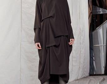 Evening dress / Holiday dress / Asymmetric dress / Asymmetric dress woman / Oversized dress / Long sleeve dress / Minimal dress