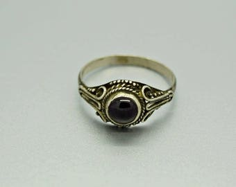 Vintage Ring, Garnet Ring, Sterling Silver Ring, Fine Jewelry