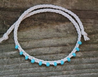 Fringe Beaded Braided Hemp Anklet - Tie On
