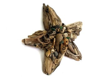 """NEW: 8"""" baby driftwood starfish no.20, wall hanging star, with seaglass and other tidal treasures, handmade on West Dorset's Jurassic Coast"""