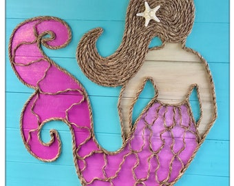 Handmade Mermaid with Rope© Beach Pallet Art Mermaid Art Pallet Art Rope Art Coastal Decor Nautical Art Mermaid