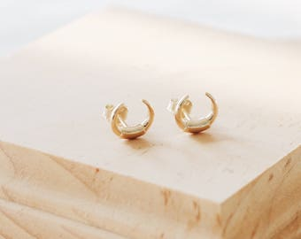 E1128 Gold Plated Sterling Silver Crescent Moon Studs
